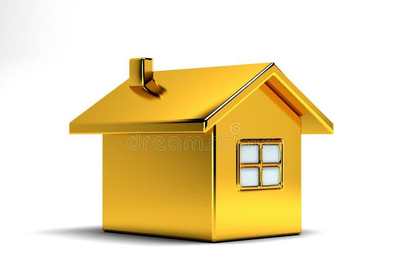 Goldhaus Real Estate Abbildung der Wiedergabe 3d lizenzfreie abbildung