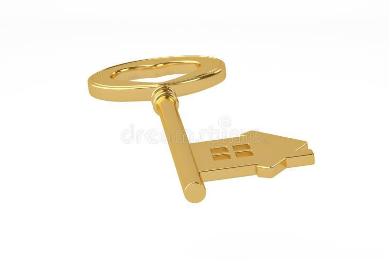 Goldhausschlüssel auf weißem Hintergrund Abbildung 3D vektor abbildung