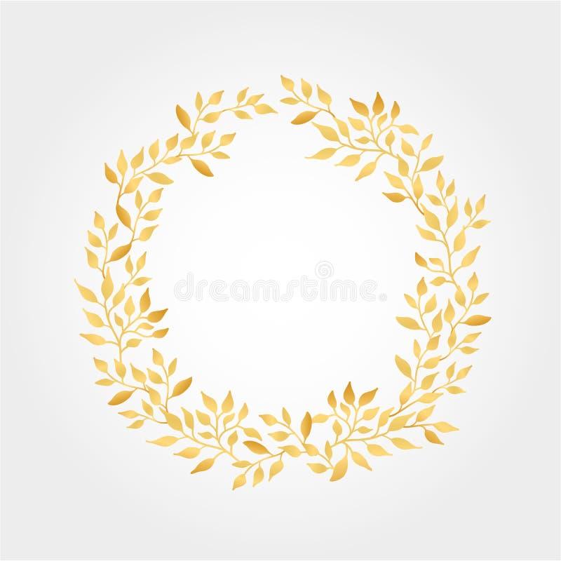 Goldherbstlaub-Hintergrundkranz lizenzfreie abbildung