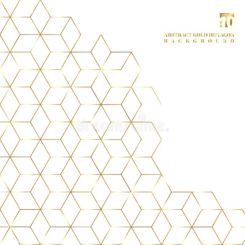 Goldhexagon-Grenzmuster auf weißem Hintergrund vektor abbildung