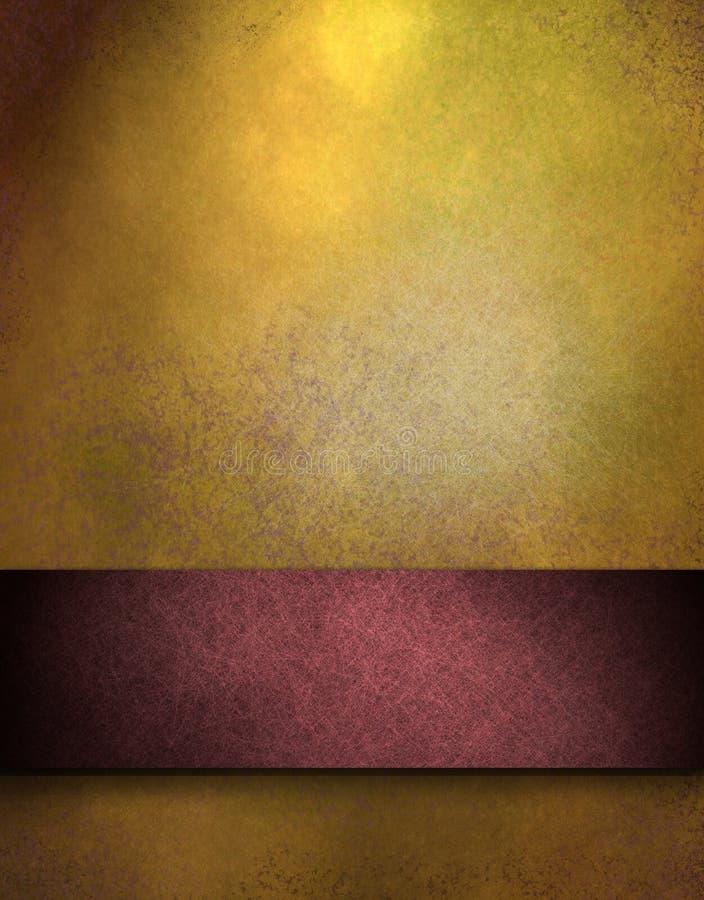 Goldhintergrund mit rotem Streifen für Text oder Namen vektor abbildung
