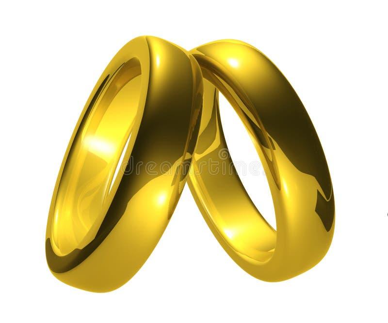 Goldhochzeits-Ringe, Ausschnitts-Pfad. stock abbildung