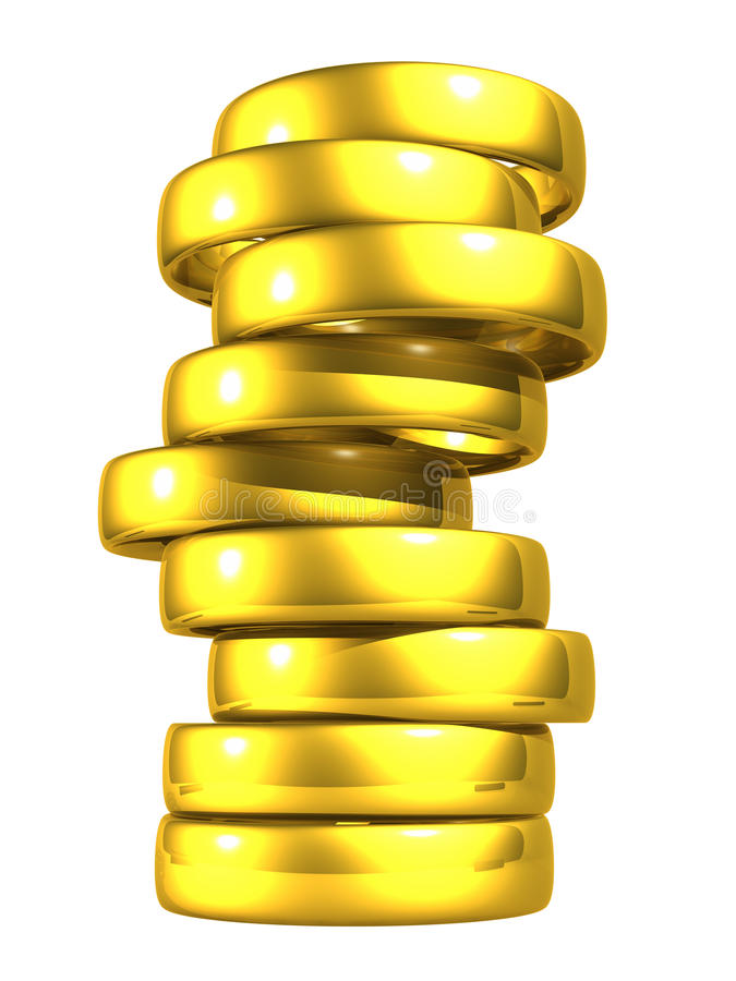 Goldhochzeits-Ringe, Ausschnitts-Pfad. vektor abbildung