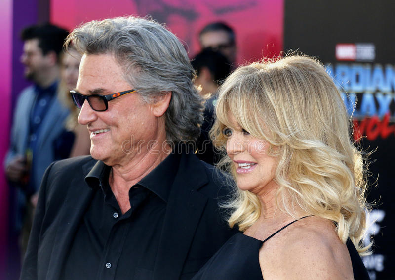 Goldie Hawn en Kurt Russell stock foto's