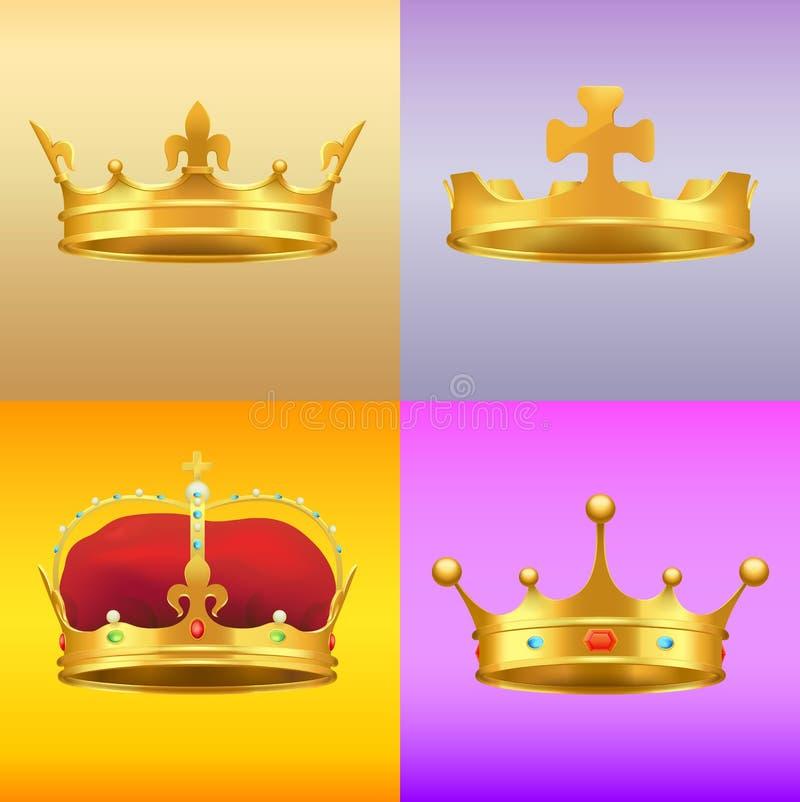 Goldkönige Medieval Crowns in einigen Designen eingestellt lizenzfreie abbildung