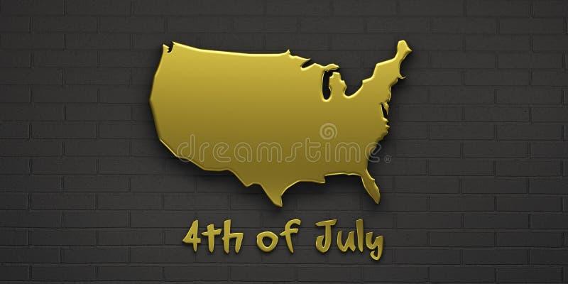 Goldkarte Vereinigte Staaten 3d ?bertragen Abbildung vektor abbildung