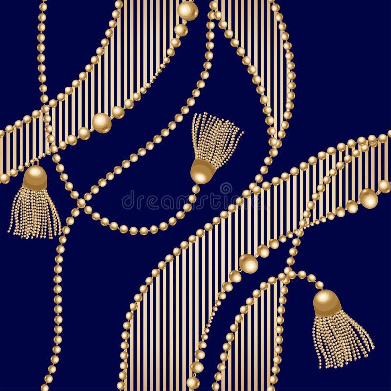 Goldkette mit der Quaste nahtlos auf blauem Hintergrund Art und Weiseabbildung Nahtloser Musterzusammenfassungsentwurf Vektor stock abbildung