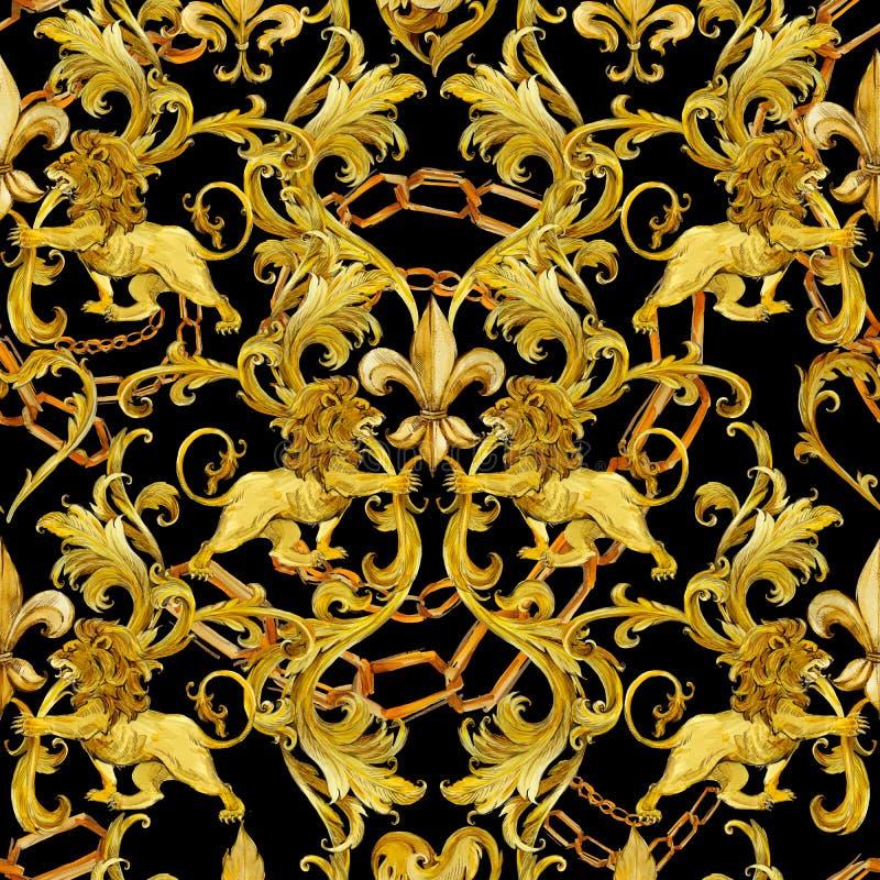 Goldketten-Damastnahtloser Luxusentwurf goldenes Löwemuster Weinlesereichtums-Spitzehintergrund Aquarelllilie illustrat lizenzfreie stockfotos