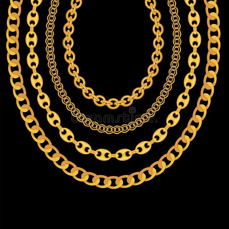 Goldkettenschmuck auf schwarzem Hintergrund Auch im corel abgehobenen Betrag stock abbildung