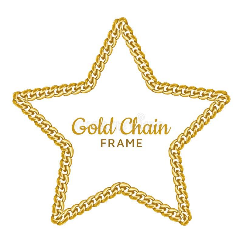 Goldkettenstern-Grenzrahmen Sternenklare Form des Kranzes Schmuckzusatz stock abbildung