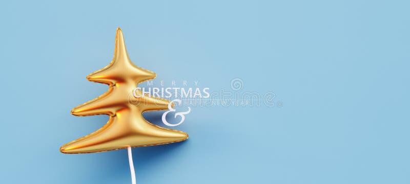 Goldkiefer-Ballon Weihnachtskarten-Dekoration auf blauem Hintergrund lizenzfreie abbildung