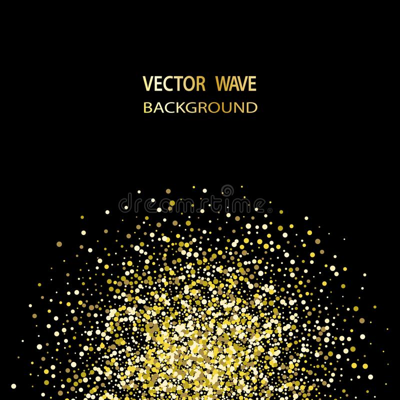 Goldkonfettifunkeln auf schwarzem Hintergrund Abstrakter Goldstaub-Funkelnhintergrund Goldene Explosion von Konfettis vektor abbildung