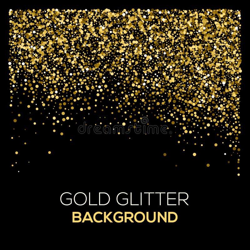 Goldkonfettifunkeln auf schwarzem Hintergrund Abstrakter Goldstaub-Funkelnhintergrund Goldene Explosion von Konfettis golden vektor abbildung