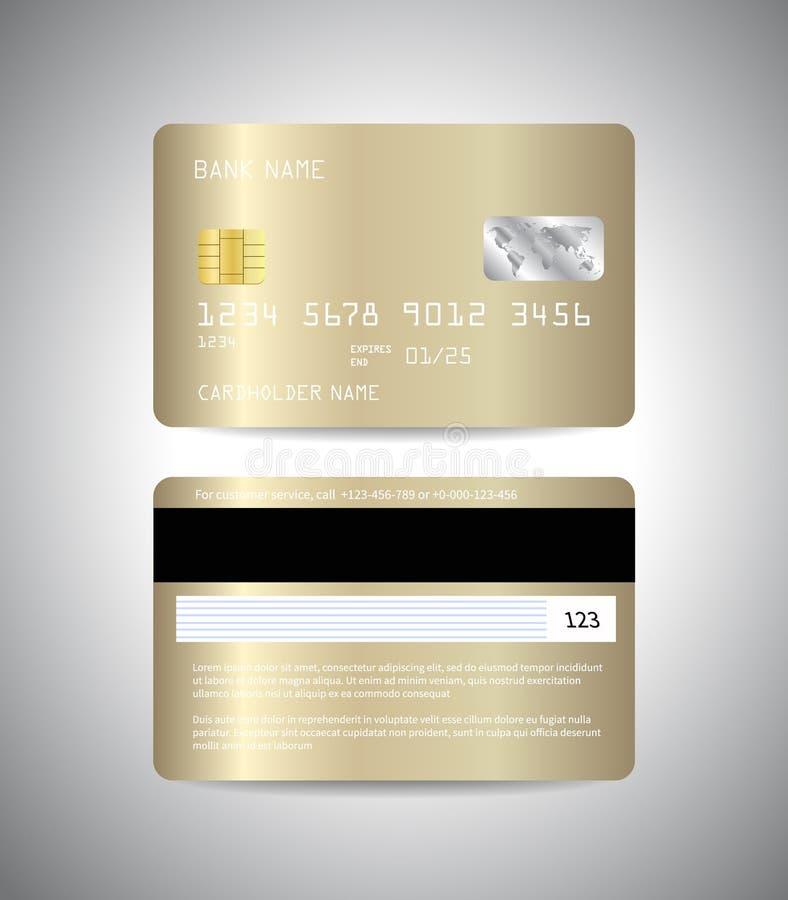 Goldkreditkarte Front und Rückseite der goldenen Kreditkarteschablone Geld, Zahlungssymbol stock abbildung