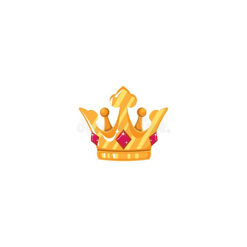 Goldkrone mit Edelsteinen Ikonen-Gegenstand-Symbol Auch im corel abgehobenen Betrag Art Design Cartoon Isolated stock abbildung