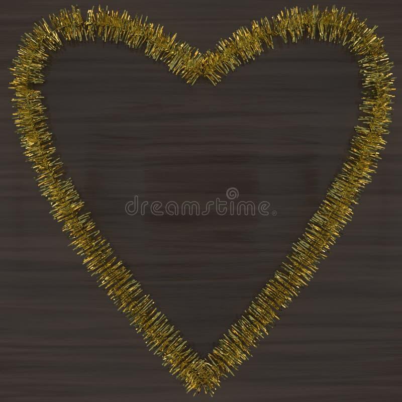 Goldlametta-Herzdekoration auf Holz stockfotos