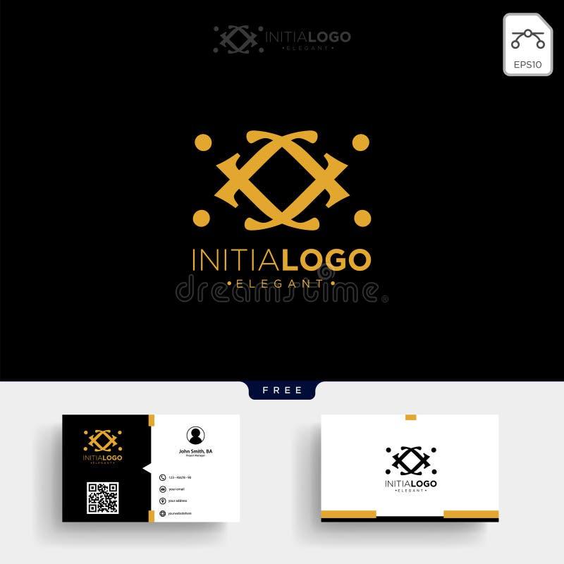Goldluxus und erstklassige Anfangsj-Logoschablone und -Visitenkarte stock abbildung