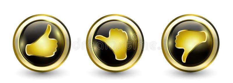 Goldluxusknopfikonen Daumen herauf positiven - neutraler Daumen - Daumen hinunter Negativ On-line-Abstimmungssymbol Konzept wie e lizenzfreie abbildung