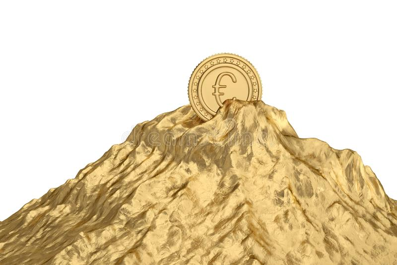 Goldmünze auf Goldberg Abbildung 3D vektor abbildung