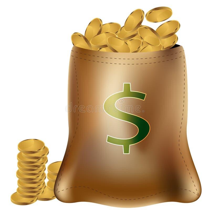 Goldmünze-Beutel stock abbildung