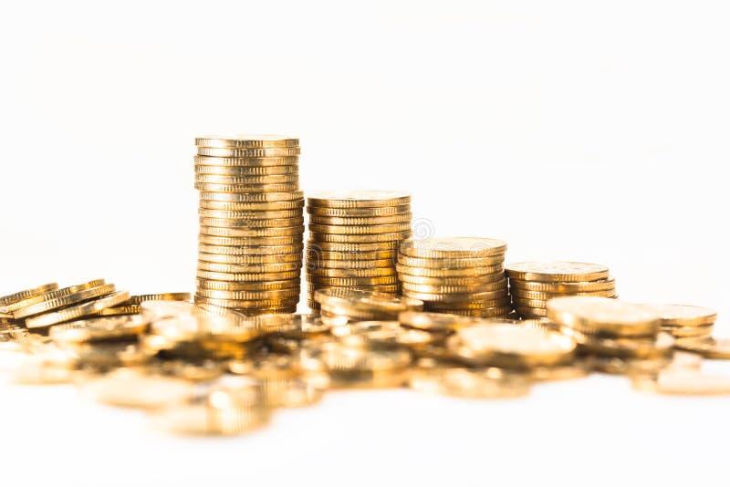 Goldmünze, in gestapelt stockfoto