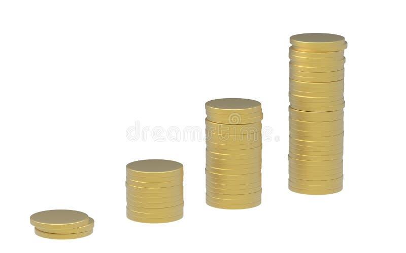 Goldmünze-Stapel-Aufstieg seitlich lizenzfreie abbildung