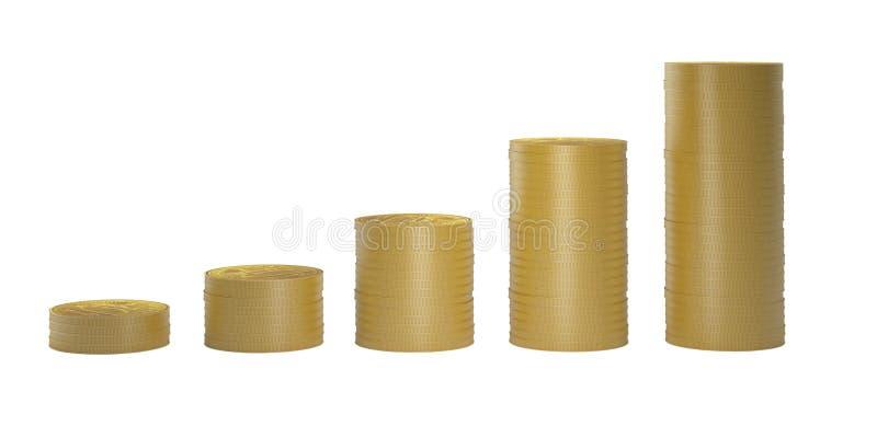 Goldmünzen in den Spalten in aufsteigender Sequenz lokalisiert auf weißem backg lizenzfreie stockfotos