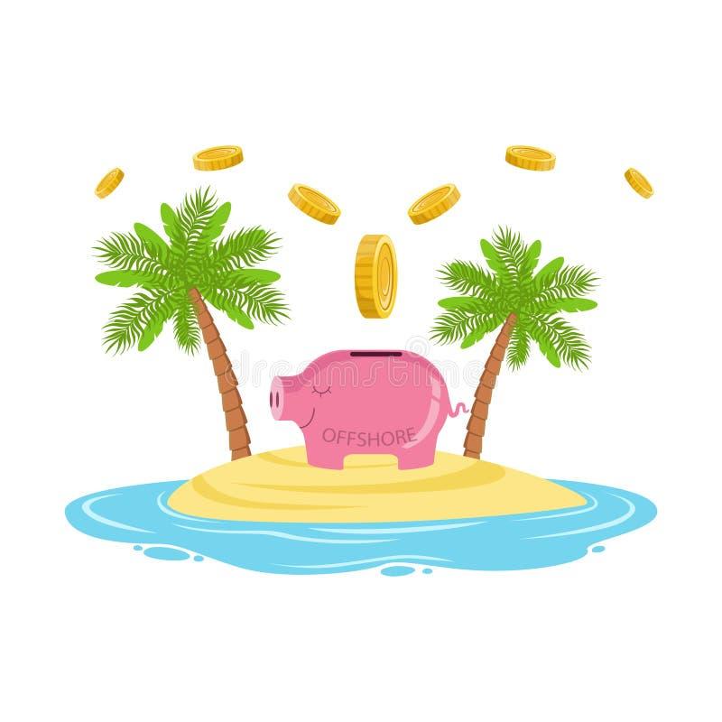 Goldmünzen, die in ein Sparschwein auf einer Tropeninsel, Bankgeschäft- außerhalb der nationalen Grenzenkonzeptvektor Illustratio stock abbildung
