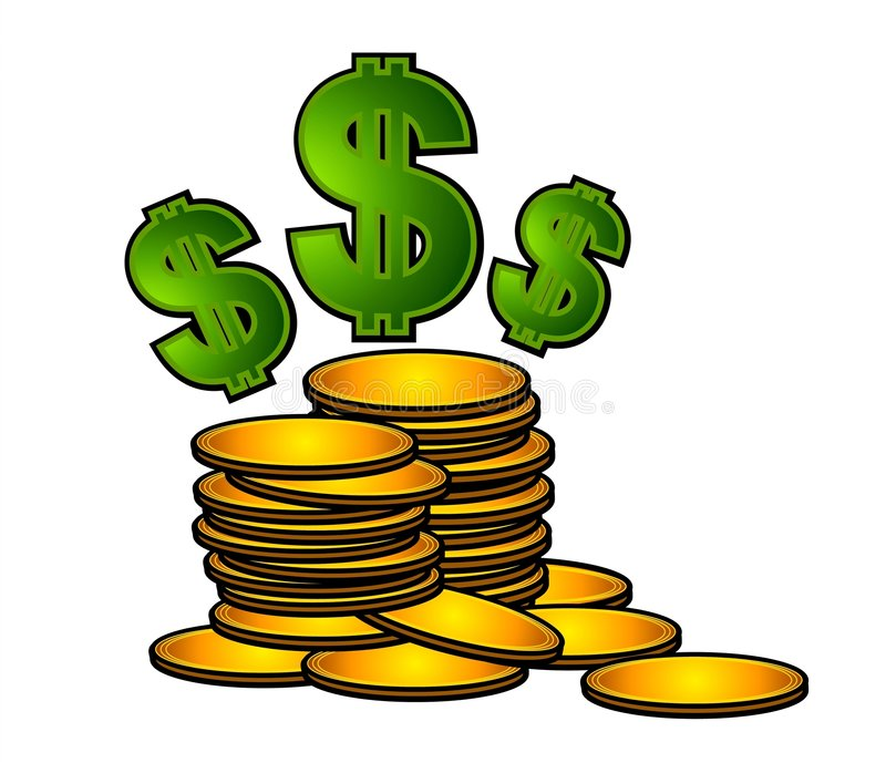 Goldmünzen und Dollar-Zeichen lizenzfreie abbildung