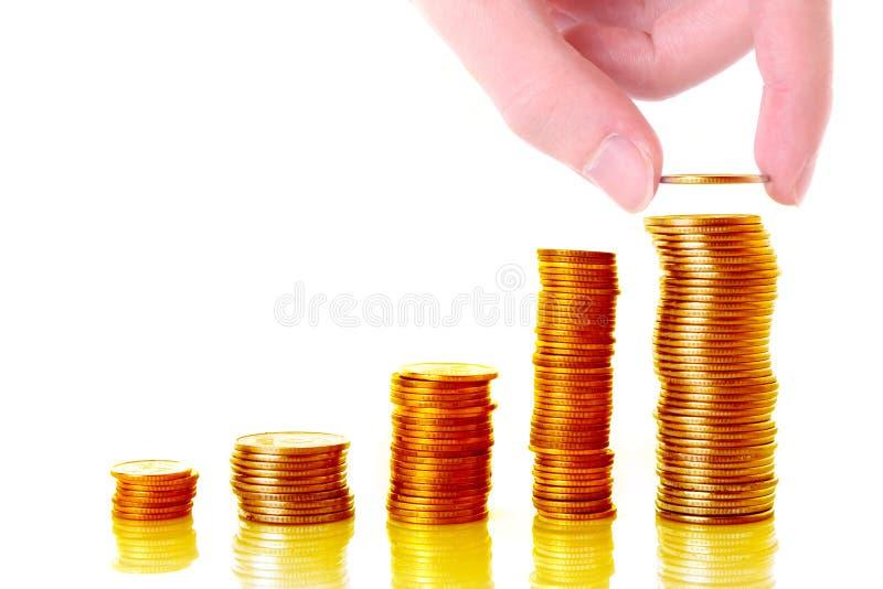 Goldmünzespalten stockfotografie