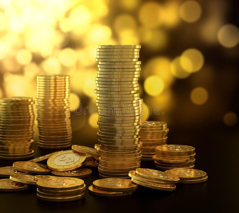 Goldmünzestapel lizenzfreie abbildung