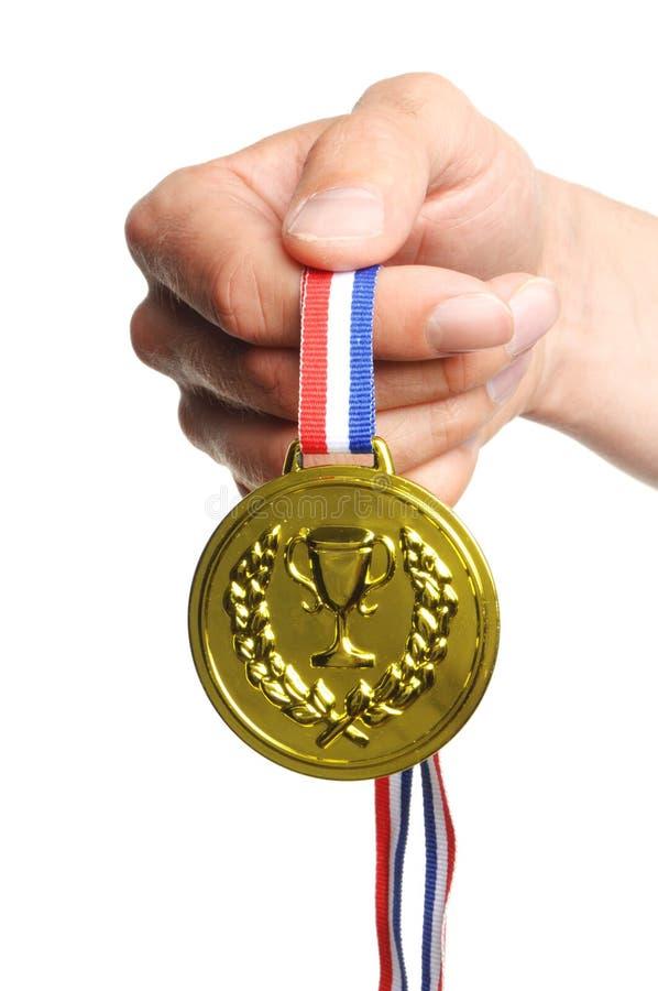 Goldmedaille stockbild