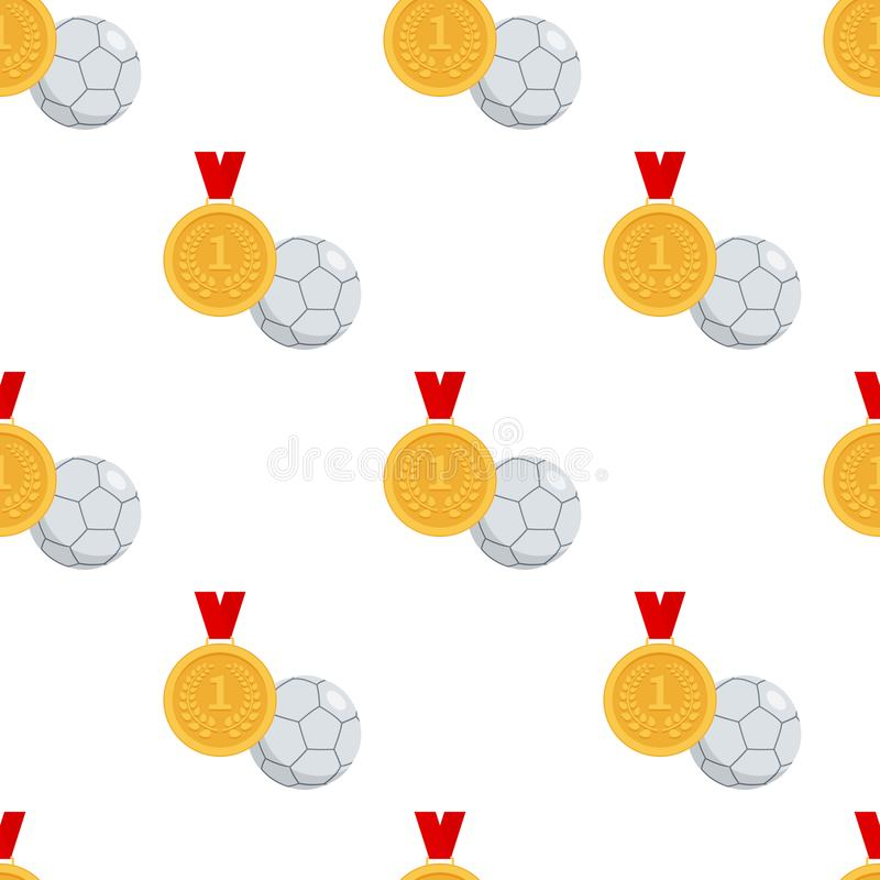 Goldmedaille und Futsals-Ball nahtlos stock abbildung