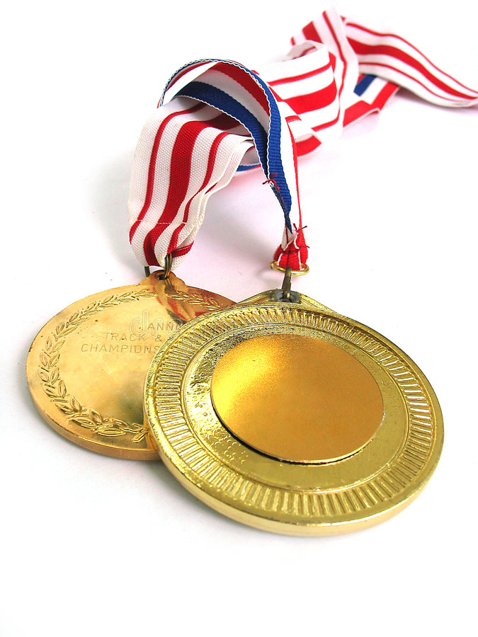 Goldmedaillen stockfoto