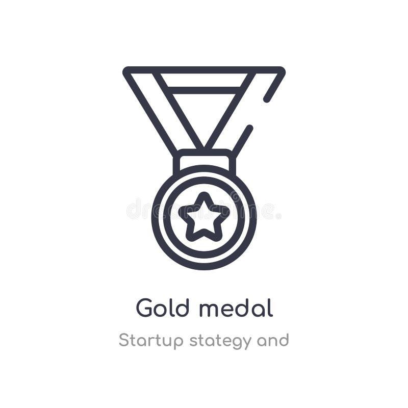 Goldmedaillen-Entwurfsikone lokalisierte Linie Vektorillustration von Startstategy und von der Sammlung editable Haarstrichgoldme lizenzfreie abbildung