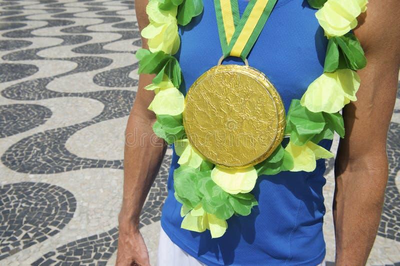 Goldmedaillen-Erstplatz- brasilianischer Athlet Rio stockbild