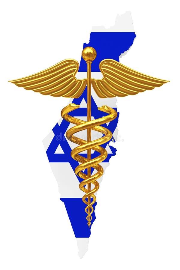 Goldmedizinisches Caduceus-Symbol mit Israel Flag Wiedergabe 3d lizenzfreie abbildung