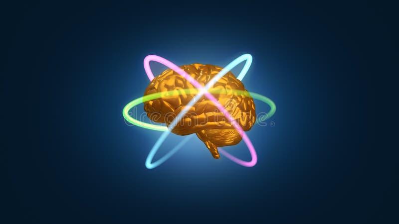 Goldmetallisches Gehirn mit Atomelektronenbahnen in der Bahn - 3D übertrug Illustration stock abbildung