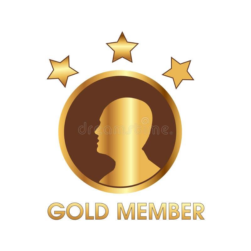 Goldmitglied mit Menschen- und Sternikone, Netzikone vektor abbildung