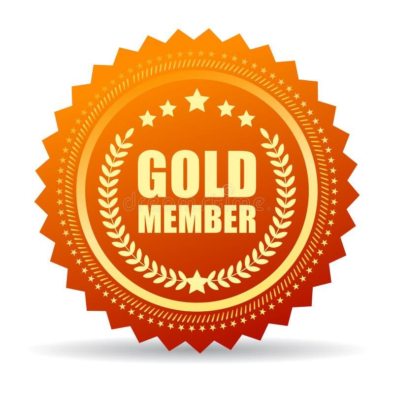 Goldmitgliedsdichtungsikone lizenzfreie abbildung