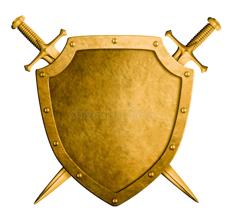 Goldmittelalterliches Wappen schirmen und zwei lokalisierte Klingen ab lizenzfreie stockbilder