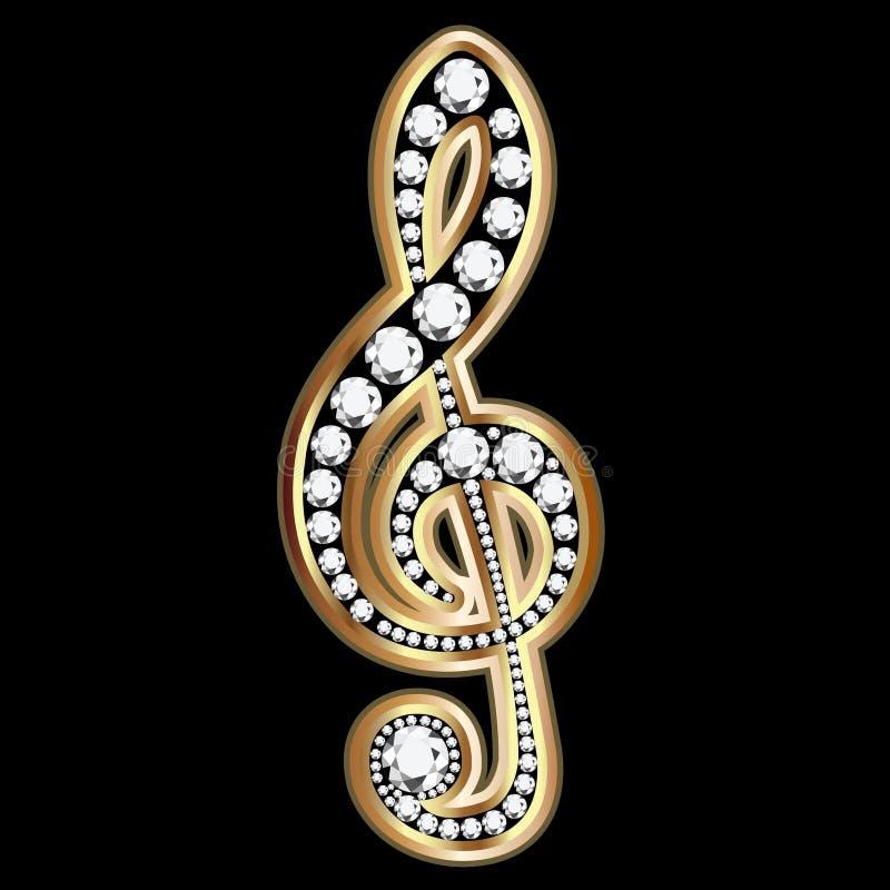 Goldmusikalische Anmerkungen und -diamanten stock abbildung