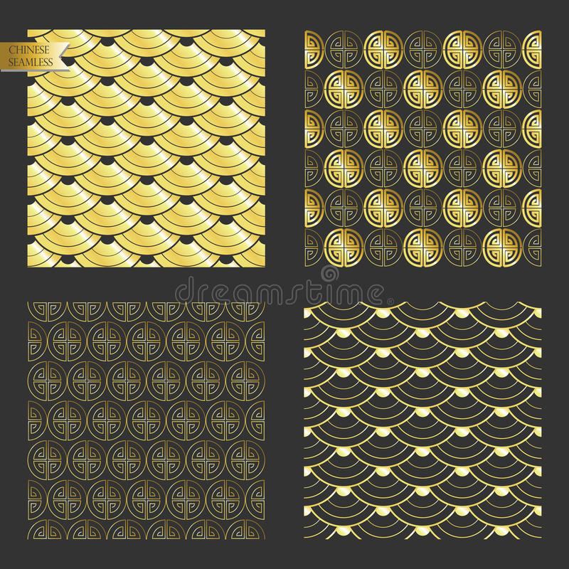 Goldnahtloses chinesisches Muster stock abbildung