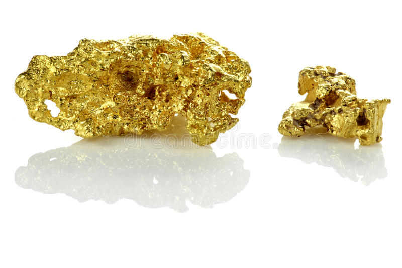 Goldnuggets stockbilder