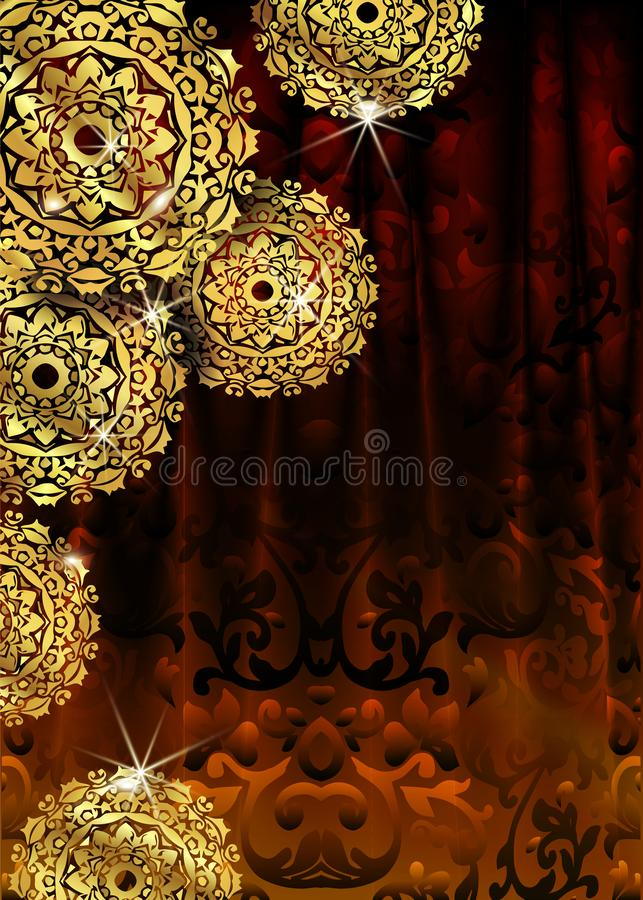 Luxury ornamental mandala design background in gold color. Vector design templates. Business card with floral circle ornament royalty free illustration