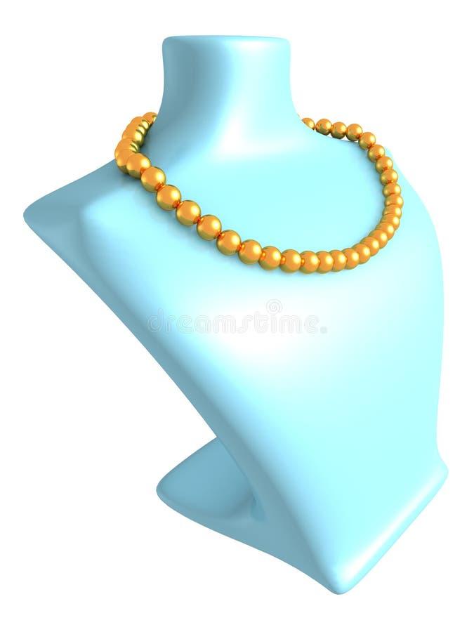 Goldperlenhalskette auf blauem Mannequin lizenzfreie abbildung