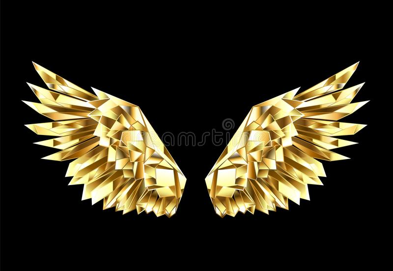 Goldpolygonale Flügel auf schwarzem Hintergrund lizenzfreie abbildung