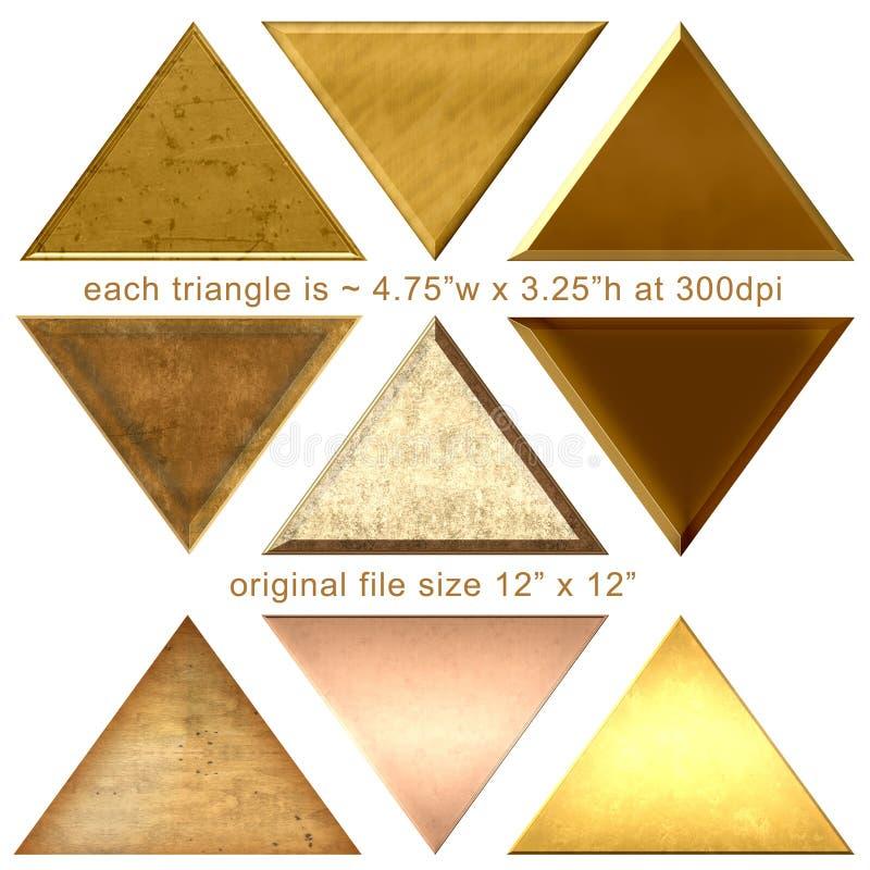 9 Goldpyramiden-Dreieck-Formen stock abbildung