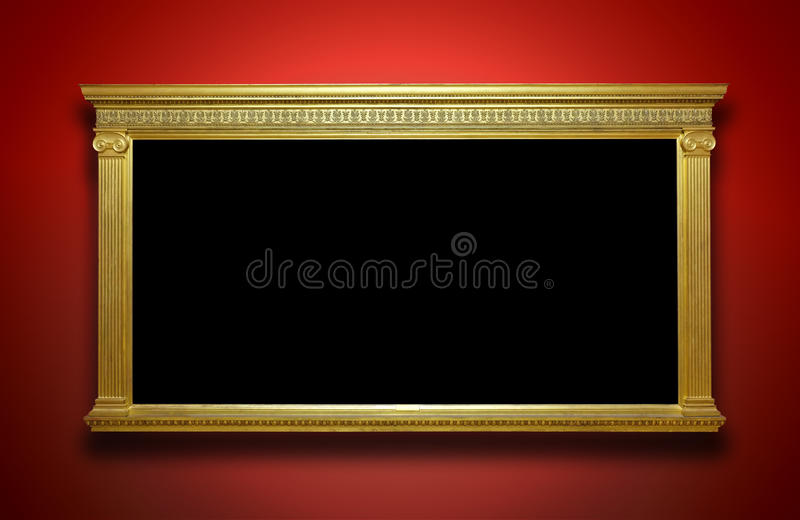 Goldrahmen auf Galerie-Wand lizenzfreie stockbilder