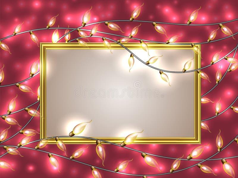 Goldrahmen mit Platz für den Text umgeben durch bunte glühende Weihnachtslichter vektor abbildung